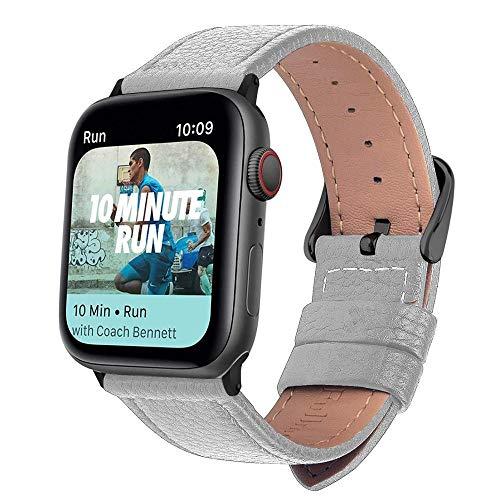 OIUYT Correa De Reloj De Cuero De 3 Colores for Apple Watch Band Series 5/3/2/1 Correa Deportiva 42mm 38mm Correa for Iwatch 4 Band (Band Color : White Black, Band Width : 42mm)