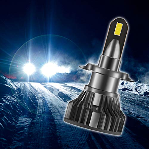 HIMAPETTR Kits De Conversión LED, 55w 6500lm Bombillas De Faros LED, Ip68 Impermeable, 6000k Lámpara Blanca Delanteros Faros Reemplazo De Halógena Y Xenón Kit, 2pcs,H4
