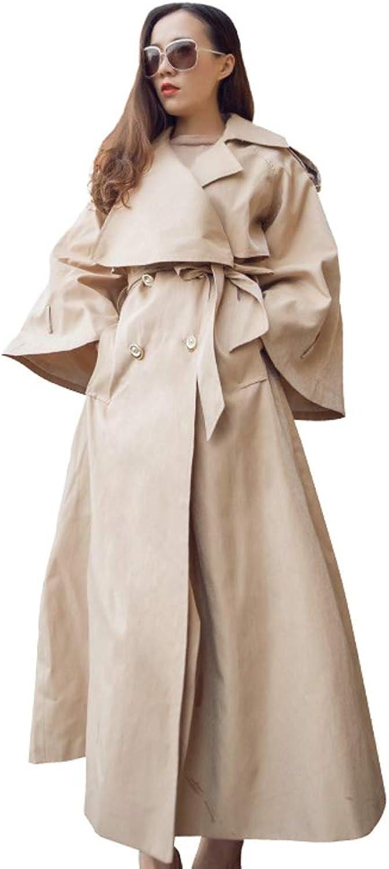 LHHJ Coat Chemical Fiber Blend Beige Long Sleeve Long Ladies Jacket