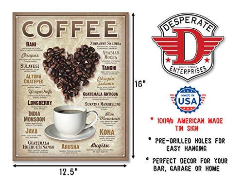 "Desperate Enterprises Heart Coffee Tin Sign, 12.5"" W x 16"" H"