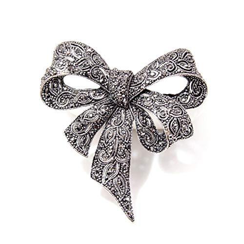 EJY Antique Silver Crystal Bow Knot Brooches Pins Christmas Wedding Gift for Women