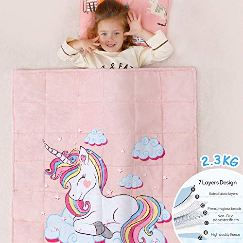 Anjee Kinder Fleece gewichtete Decke 2.3KG, Einhorndecke für Kinder mit 2 Farboptionen, ultraweiche und kuschelige schwere Decke, ideal zum Beruhigen und Schlafen 90 x 120 cm Rosa