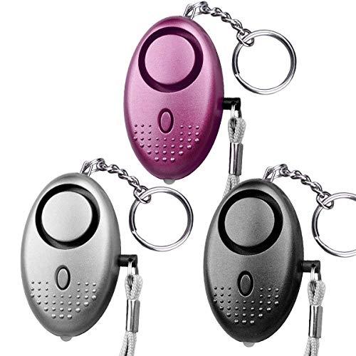 JVSISM Allarme Personale, Portachiavi di Allarme di Sicurezza di Emergenza Con Luce A LED (3 Pezzi) (Colore Misto)