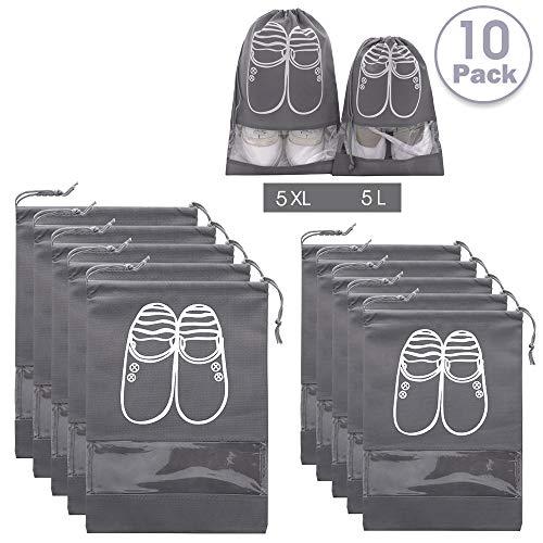 AMAYGA 10 Piezas Bolsas de Zapatos, Multifunción a Prueba de Polvo para Viajes,Bolsa Impermeable Telas no Tejidas Zapatos de Viaje Bolsa de Acabado con Ventana Transparente