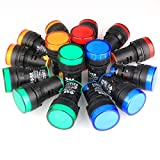 GUUZI 16 Piezas de Luz Indicadora Rojo/Amarillo/Azul/Verde 22mm Panel Piloto LED AC 220 V 20mA Lámpara de Señal Indicadora (Cada Color 4 Piezas)