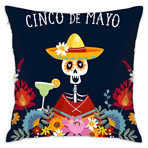 Hancal Throw Pillow Cases,Cinco De Mayo Greeting Invitation,Pillow Covers Decorative 18x18 in Pillowcase Cushion Covers with Zipper