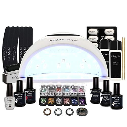 Kit Semipermanente Unghie Professionale Completo • Lampada UV Led 48W Sphère • 3 Smalti Gel Unghie, 30 Accessori,...