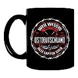 Kaffeetasse schwarz 300ml große Tasse bedruckt mit DDR Motiv Ostdeutschland