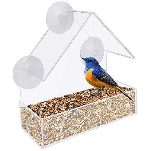 RMENOOR Comedero para Pájaros Acrílico Transparente Ventana de Casa de Pájaros sin Taladro con 3 Ventosas Alimentador De Aves Abierto por 3 Lados Comederos para Aves para Colgar en Forma de Casa