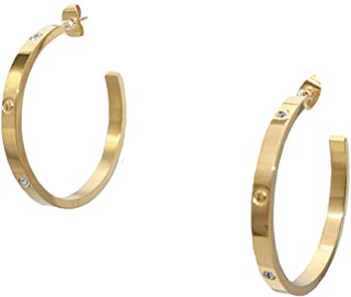 Baoli Titanium Steel Gold Screw Diamond Love Big Hoop Earring
