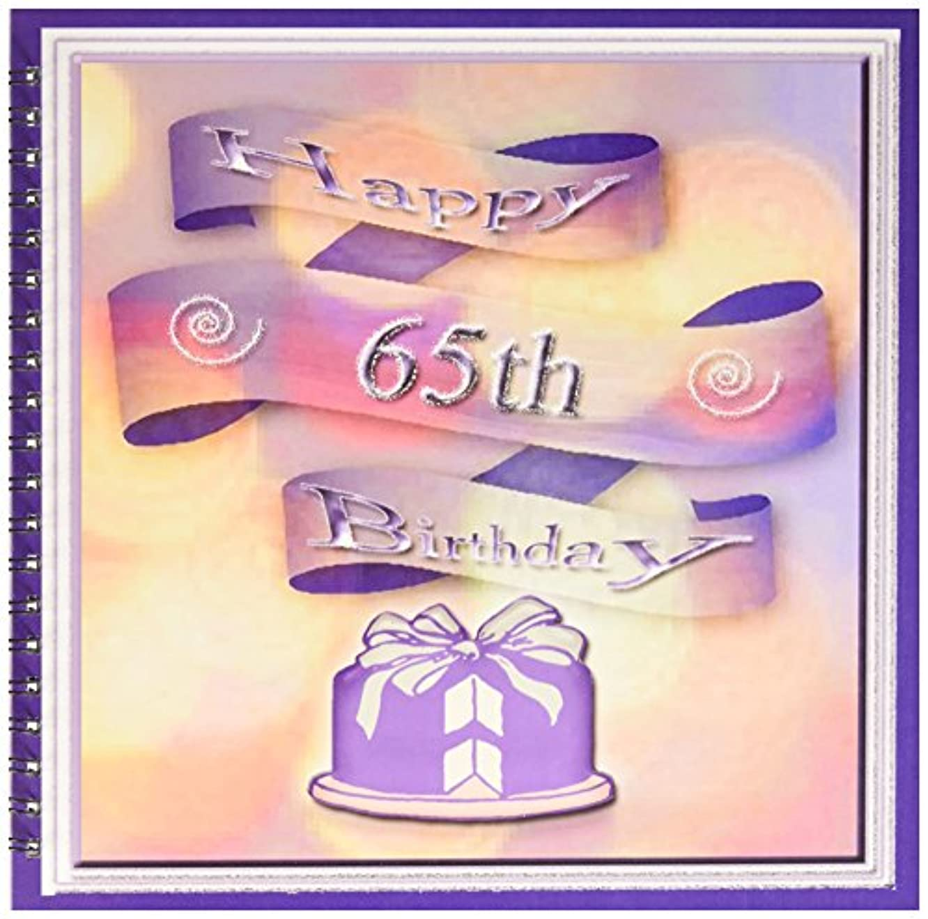 3dRose db_24424_2 Ribbon and Cake Happy 65th Birthday Memory Book, 12 by 12-Inch