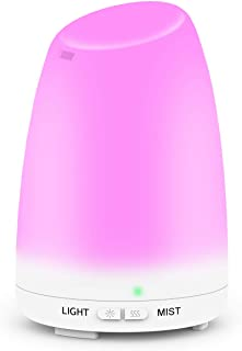 Essential Oil Diffuser, Ms Kelly Ultrasonic Aroma Diffuser 120mL Aromatherapy Diffuser Cool Mist Humidifier For Office Bedroom Spa Yoga Baby, 7 Colors LED Light Changing and Waterless Auto Shut-Off