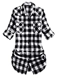 Match Women's Long Sleeve Plaid Flannel Shirt #2021(X-Large, Checks#6)