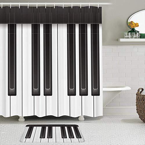 SSZO Juego de Cortinas y tapetes de Ducha de Tela,Piano Key Modern Elegant Music Theme,Cortinas de baño repelentes al Agua con 12 Ganchos, alfombras Antideslizantes
