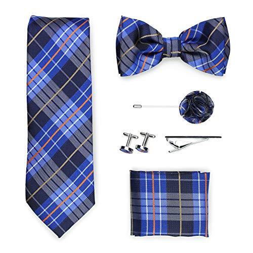 PUCCINI Geschenkbox | Krawatte, Fliege, Einstecktuch, Krawattennadel, Manschettenknöpfe, Ansteckblume | Karo-Muster | Handarbeit (Orange/Blau)