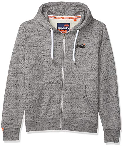 Superdry Herren ORANGE Label Ziphood Kapuzenpullover, Grau (Flint Grey Grit XJE), Large