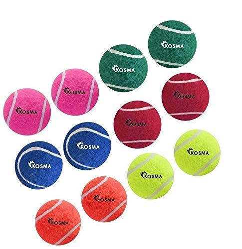 Kosma Set mit 12 Tennisbällen | Hundespielzeug Ball | Spielzeug für Haustiertraining - in lebhaften Farben mit Netz-Tragetasche – (2 gelb, 2 blau, 2 grün, 2 rosa, 2 orange, 2 rot