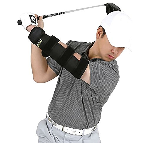 Weighted Elbow Brace - Shoulder Turn & Straight Arm Golf Swing Trainer Increasing The Moment of Inertia Force (Rigid, US Patented)