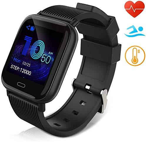 Huyeta Smartwatch Fitness Armbanduhr für Damen Herren Kinder Sportuhr IP67 Wasserdich Fitness Tracker mit Schrittzähler Pulsmesser für iOS Android Handy