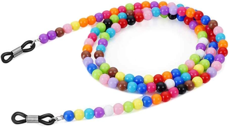 2 Pcs Colorful Round Beaded Sunglasses Holder String Eyewear Reading Glasses Chain Eyeglass Strap Necklace