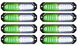 ASPL 8pcs Sync Feature Ultra Slim 12-LED Surface Mount Flashing Strobe Lights for Truck Car Vehicle LED Mini Grille Light Head Emergency Beacon Hazard Warning lights (Green/White)