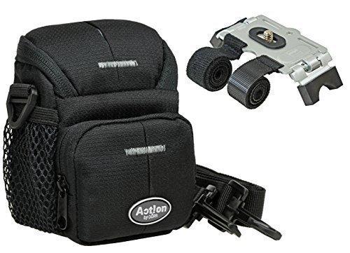 Kamera Foto Tasche Black ONE im Set mit Klett Stativ für Fahrradlenker
