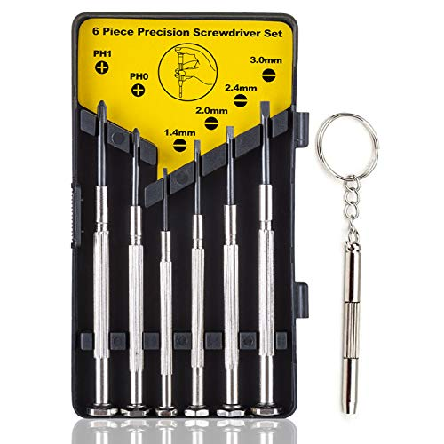 Screwdriver Set, 6 Different Size Flathead and Phillips Mini Screwdrivers Set with 1pcs Premium Small Eyeglasses Screwdriver Kit for Glasses, Electronics, Toys- with Case