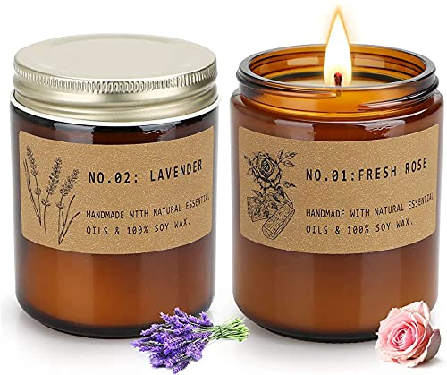 Soy Candles, Aromatherapy Candles for Home Scented, Birthday Gifts for Women, Long Lasting Decrotive Scented Candle Sets, Lavender and Fresh Rose, 7.2oz, 2 Pack