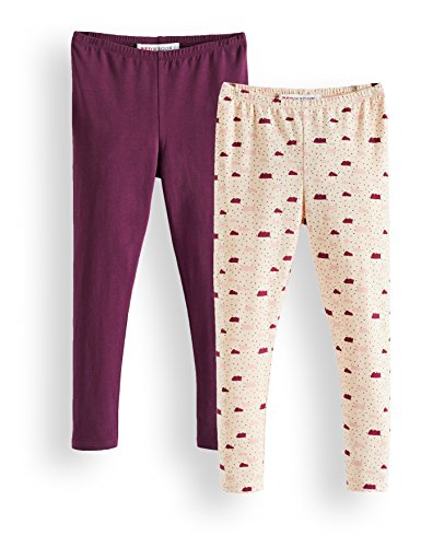 Amazon-Marke: RED WAGON Mädchen Verschiedene Leggings im 2er Pack, Mehrfarbig (Cream Tan Potent Purple 13-1108 Tcx 19-2520 Tcx), 152, Label:12 Years