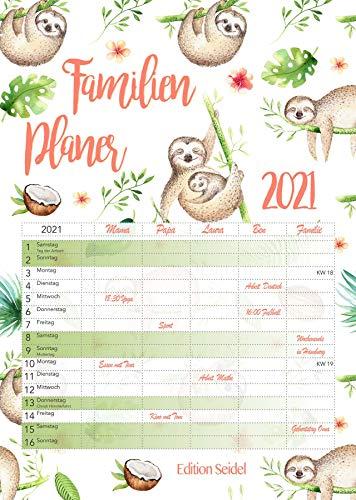Familienplaner XL Familienkalender Familientimer Family Timer 2021 DIN A3 Wandkalender Kalender Familie 5 Spalten (Faultier)