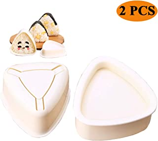 Onigiri Mold Triangle, 2 Pieces Rice Ball Mold Makers, Triangle Sushi Mold for Bento or Japanese Boxed Meal Children Bento by Hagbou (Beige)