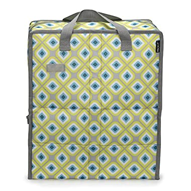 PackIt Freezable Grocery Shopping Bag with Zip Closure, Geometric
