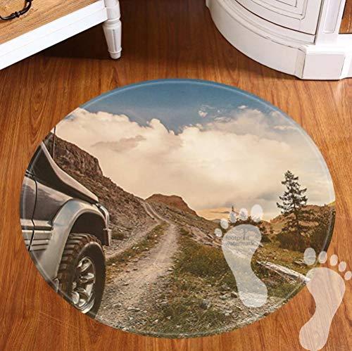 FBCN Alfombrilla de baño Antideslizante, Redonda, Muy Suave, Lavable a máquina, decoración de Cuarto de baño (60 cm)-Off Road Track Car