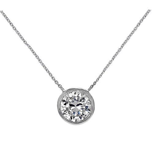 d67fd1572 Amazon.com: Solitaire Pendant Necklace .925 Sterling Silver Round 6mm CZ  Bezel Set 16