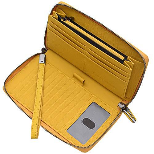 Portmonee Damen mit RFID Schutz Geldbeutel, Portemonnaie, Geldbörse, Brieftasche, Damengeldbeutel, Damengeldbörse lang groß viele fächer Leder Reissverschluss(Gelb)