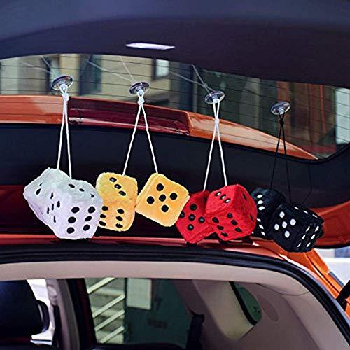 "Black Plush Car Hanging Mirror Fuzzy 3/"" Dice Pair Zone Tech Black with White Dots Decorative Mirror Fuzzy Dice"