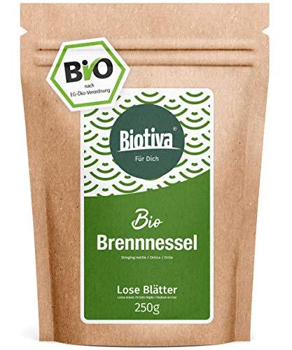 Brennnesselblätter-Tee Bio (250g) - Brennesseltee - lose Blätter - 100% Bio Brennnessel-Kräuter - Abgefüllt und kontrolliert in Deutschland (DE-ÖKO-005)