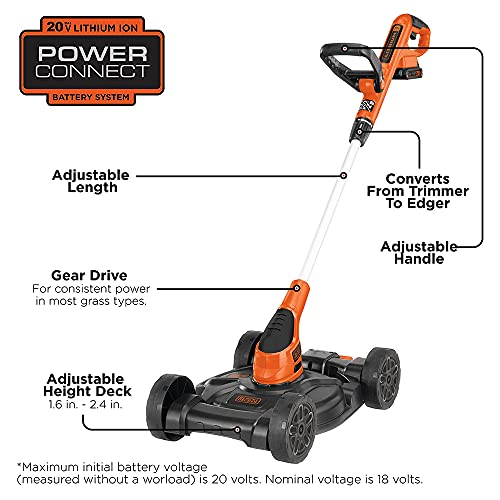 BLACK+DECKER 3-in-1 Lawn Mower, String Trimmer and Edger, 12-Inch, Cordless (MTC220)