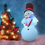 6 Feet Inflatable Snowman LED Shivering Snowman Christmas Inflatable Perfect for Blow Up Yard Decoration, Indoor Outdoor Yard Garden Christmas Decoration