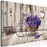 murando Cuadro en Lienzo Flores 90x60 cm 1 Parte Impresión en Material Tejido no Tejido Impresión Artística Imagen Gráfica Decoracion de Pared Lavender Bicicleta Madera Corazon b-C-0644-b-a