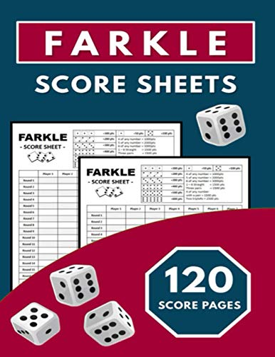 Farkel Score Sheets: Scorebook For Farkle Scorekeeping / Large Size 8.5'x11' inches / For Adult, Kids and Senior Players
