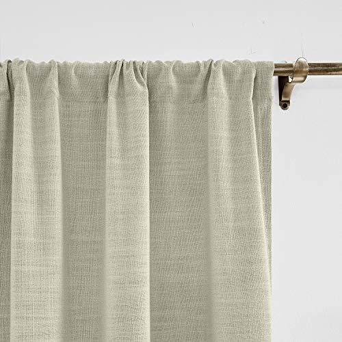 ChadMade 127 x 260 cm (B x L) Sand Beige Leinen mit Blackout Lining Vorhang, Blickdicht Vorhänge Rod Pocket Gardinen für Glas-Schiebetüren, Terrassentüren, Wohnzimmertür (1 Panel)