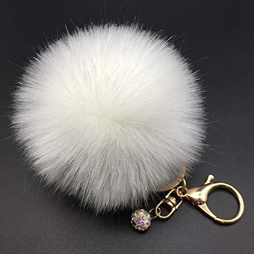 Dontdo Schlüsselanhänger für Damen und Mädchen, Kunstfell, flauschiger Bommel, Auto-Anhänger, Handtaschen-Anhänger 11# White