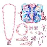 hifot farfalla paillettes borsetta bambina set gioielli, borsa a tracolla ragazza collana bracciale orecchini anelli regalo, forniture articoli per feste