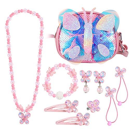 Hifot Mädchen Handtaschen Pailletten Schmetterling kinderschmuck, Kette Halskette Armband Ohrringe Ring Haargummis Haarspangen schmuckset, Umhängetaschen Kleid Gastgeschenke Geschenk