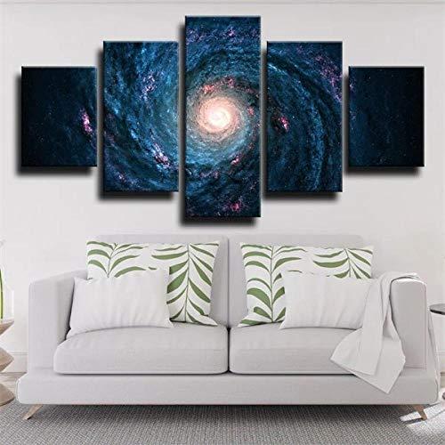 IJNHY Quadro su Tela 5 Pezzi Quadri Moderni Spazio Via Lattea Galaxy Stampa su Tela Canvas Immagine di Decorazione Murale per Soggiorno Camera da Letto Telaio 150X80Cm Regali di Natale