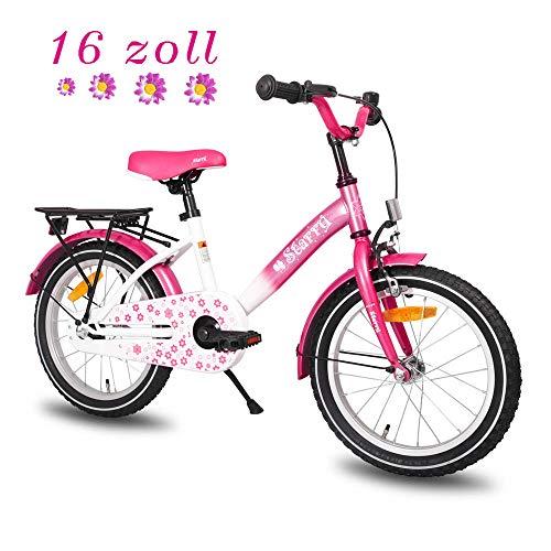 HILAND Starry 16 Zoll Kinderfahrrad für Mädchen 4-7 Jahre mit Ständer, Handbremse, Rücktritt und Rücksitz/Gepäckträger Pink