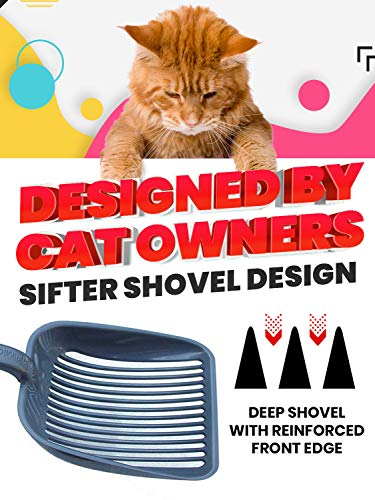 Sifter w/ Deep Shovel Litter Scoop - Designed by Cat Owners - Durable ABS Plastic Litter Scoop, Scooper. Solid Strong Handle. By iPrimio. Patented.