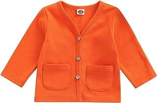 Paxlahby Maluch chłopiec dziewczyna guziki płaszcz jednolity kolor dekolt w serek bluzka z długim rękawem kurtka z kieszen...
