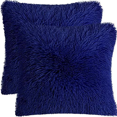 PiccoCasa - Juego de 2 fundas de almohada de piel sintética de estilo largo y lanudo decorativo para sofá, para salón, dormitorio, asiento de coche, color azul real, 45 x 45 cm